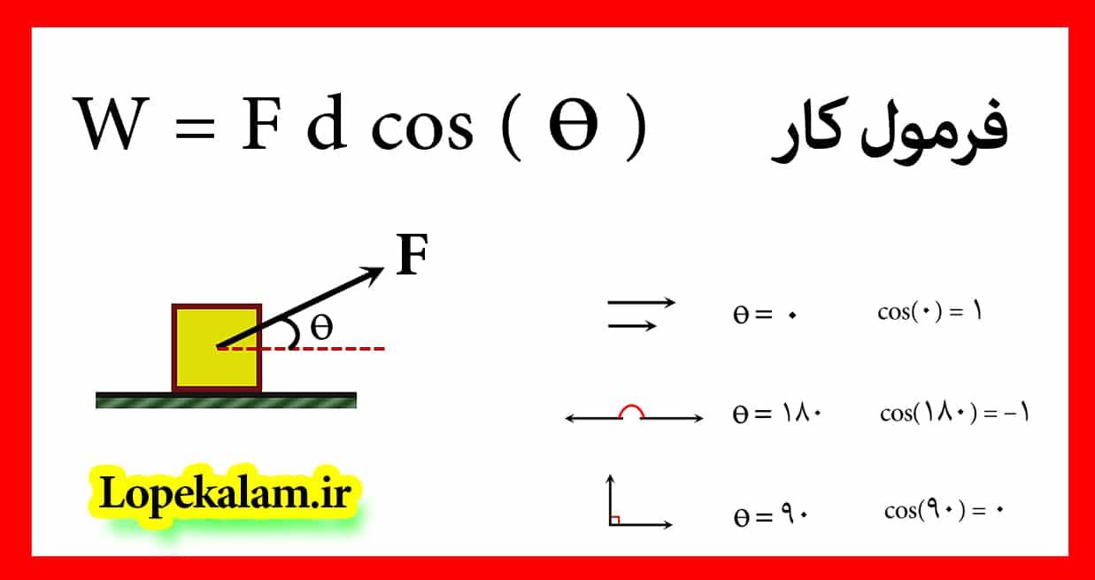 فرمول کار فیزیک دهم